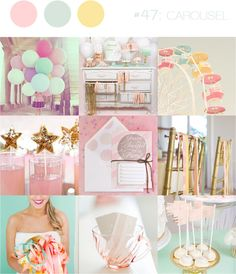 pastel pink yellow and blue wedding