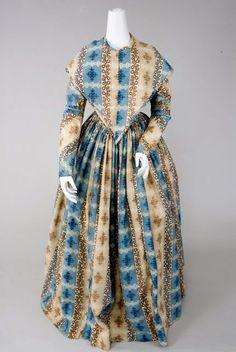 Printed Wool Day Dress & Pelerine, 1840s - Lot 28 $3,162.50