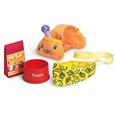 American Girl® Accessories: Pet Hiking Set. I really want this set, to go with (That I don't have yet, but want!) The Great Outdoors Tent, Hiking outfit, Hiking accessories, Pepper, and the Cozy Sleepover Bag. I really want! I <3 camping!! -Hailey