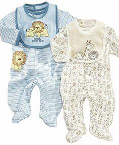 Little Me Baby Set, Baby Boys Footed Coverall & Bib
