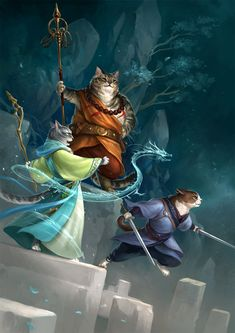 Cats party 2 by sandara Japanese Chinese monk ninja samurai summoner wizard warlock rogue thief assassin cat kitten kittens armor clothes clothing fashion player character npc | Create your own roleplaying game material w/ RPG Bard: www.rpgbard.com | Writing inspiration for Dungeons and Dragons DND D&D Pathfinder PFRPG Warhammer 40k Star Wars Shadowrun Call of Cthulhu Lord of the Rings LoTR + d20 fantasy science fiction scifi horror design | Not Trusty Sword art: click artwork for source