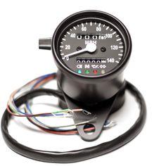 "2.5"" Black Mini Speedometer w/ Black Face & LED Indicator Lights"
