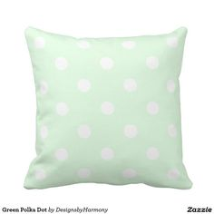 Green Polka Dot Throw Pillow