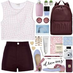 high-waisted shorts by jesuisunlapin on Polyvore featuring мода, Monki, River Island, Twin-Set, 3.1 Phillip Lim, Love Moschino, Kate Spade, The Row, Conair and Korres