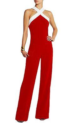 17cba534417 Amazon.com  Cfanny Women s Plus Size Sleeveless Wide Leg Long Pants  Jumpsuits Rompers