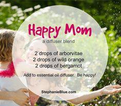 Great little blend of essential oils for the diffuser. Happy mom Diffuser Blend http://www.mydoterra.com/renitafullam/ doTERRA essential oils