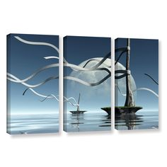 Ribbons by Cynthia Decker 3 Piece Gallery-Wrapped Canvas Set