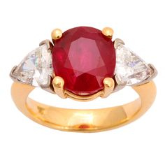 Three Stone Ruby and Diamond Ring