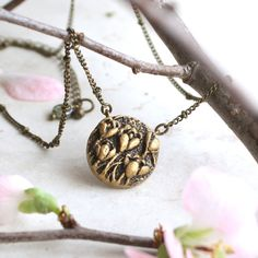 Tulip Necklace, Gold Flower Pendant, Crocus Charm, Tulips Necklace, Spring Wedding Bridesmaid Gift, Flower Girl Necklace, Crocus Art