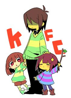 It's really dumb but the fact that the names of Kris, Frisk and Chara put together make « KFC Undertale Comic, Flowey Undertale, Undertale Game, Undertale Drawings, Undertale Fanart, Frisk, Toby Fox, Rpg Horror Games, Funny Comics