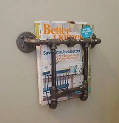 Magazine Rack by IndustrialHomeBazaar on Etsy