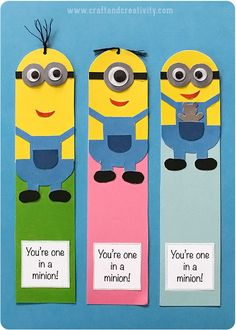 Minion bookmarks with template - by Craft & Creativity Kids Crafts, Hobbies And Crafts, Craft Projects, Arts And Crafts, Paper Crafts, Creative Bookmarks, Diy Bookmarks, Corner Bookmarks, Minion Card