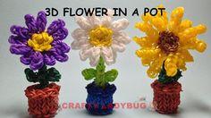 Rainbow Loom 3D SUN FLOWER/DAISY IN POT Charm Tutorials by Crafty Ladybug