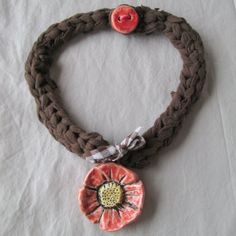 Jersey Crochet Ceramic Wild Rose Necklace by SumikoPinecone, $25.00