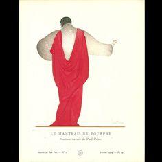 Gazette du Bon Ton - Le Manteau de Pourpre, manteau du soir de Paul Poiret, planche de Georges Lepape (n°2, 1914)
