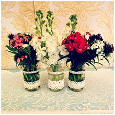 Tea party flowers in mason jars with lace at Buy My Dress Waterford Vintage China, Afternoon Tea, I Dress, Tea Party, Mason Jars, Glass Vase, Lace, Sweet, Flowers