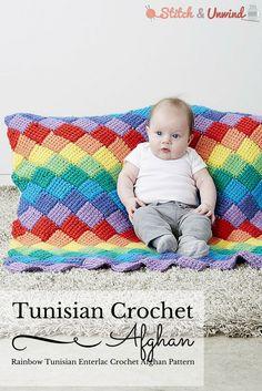 Rainbow Tunisian Entrelac Afghan, free crochet pattern by Yarnspirations on Stitch and Unwind