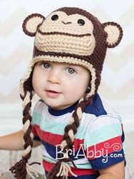 Crochet chimp hat from www.briabby.com