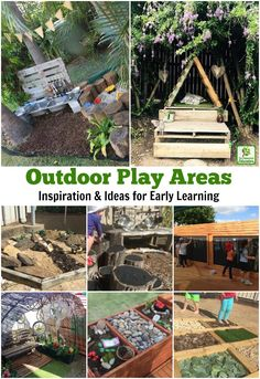 A huge collection of ideas for creative outdoor play areas shared by early years educators. Try them in the backyard or daycare spaces! play areas eyfs Ideas for Children's Outdoor Play Areas and Activities Outdoor Learning Spaces, Kids Outdoor Play, Outdoor Play Areas, Kids Play Area, Backyard For Kids, Outdoor Fun, Backyard Ideas, Childrens Play Area Garden, Natural Outdoor Playground
