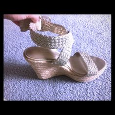 Jessica Simpson gold wedges size 7! Very cute in your feet! Wedges size 7! Color matches with almost everything! They have been used but still in good condition. Pet&smoke free home Jessica Simpson Shoes Wedges