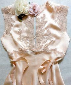 a8c01c31429 Vintage lingerie peach silk charmeuse pajamas  w  ecru lace trim