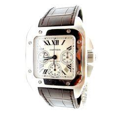 Cartier Stainless Steel Santos 100 XL Automatic Chronograph Wristwatch | 1stdibs.com