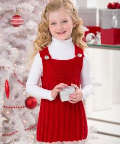 Perfect for holiday season or after, little girls will love the comfort of this knit just-for-her jumper. Make it in red or her favorite shade of this wonderful, no-itch yarn.