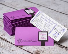 Items similar to Boarding Pass Wedding Invitation Package with ticket jacket - Vintage travel First Class on Etsy