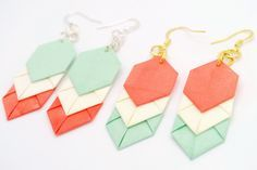 #Crafts Mint Chevron Origami Earrings