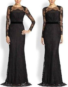 Bnwt Notte Marchesa black floral lace long sleeve gown dress 4 6
