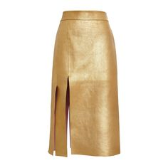 Nina Ricci Gold Bonded Gold Leather Skirt ($3,798) ❤ liked on Polyvore featuring skirts, bottoms, knee length leather skirt, brown skirt, brown high waisted skirt, leather skirts and high rise skirts