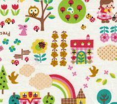 Kokka fabric with cute animals and garden