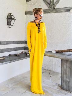 Amarillo Maxi vestido de cuello de manga larga con bolsillos /