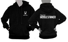 Loki's Army small logo plus Yes I'm HIDDLESTONER on black Hoodie sweatshirt  Long Sleeve printed on front and back