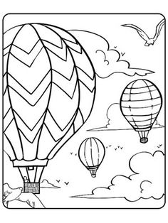 Printable Summer Coloring Pages: Hot-Air Balloon Party (via Parents.com)