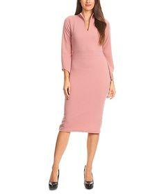 Nema Avenue Rose Mock Neck Bell-Sleeve Dress | zulily