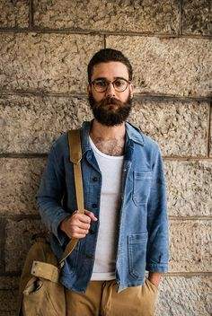 Um Pernambucano denim shirt pants fashion glasses beard Style tumblr