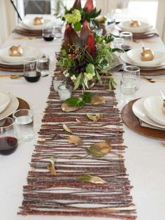 FROM HGTV - Our Favorite Thanksgiving Table Setting Ideas A beautifully set table makes any meal a special occasion — and what dinner could be more important than Thanksgiving? Pull out all the stops and set a table that's dressed to impress. Thanksgiving Table Settings, Thanksgiving Centerpieces, Diy Thanksgiving, Decorating With Sticks, Fall Decorating, Rustic Table Runners, Deco Table Noel, Christmas Tree Themes, Christmas Tables