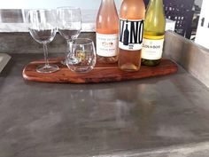 DIY feather finish concrete over tile counters, perfect for lining up bottles of wine! Painting Tile Countertops, Diy Concrete Countertops, Tile Counters, Laminate Countertops, Kitchen Countertops, Countertop Makeover, Ipe Wood, Rose, Diy Kitchen
