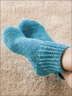 Slip on a pair of these rib cuffed socks at the end of a long day and relax! Made with size light worsted weight yarn and size F hook. Includes: Women's shoe sizes 6-7 (small), 8-10 (medium) & 12-14 (large).  Skill Level: Intermediate  Designed by Kim Kotary