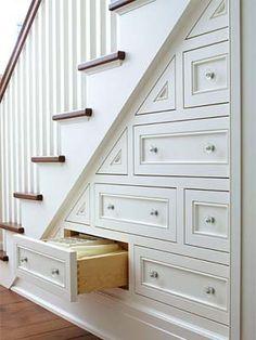 Hidden Stair Storage ~ wonderful idea for a small house. - new design ideas - Hidden Stair Storage ~ wonderful idea for a small house. Staircase Storage, Staircase Design, Staircase Ideas, Stair Design, Basement Storage, Kitchen Storage, Stair Shelves, Storage Room, Attic Staircase