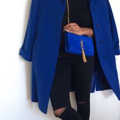 sneakers and pearls,black knee split jeans, electric blue suede Yves Saint Laurent, electric blue oversized coat, trending now