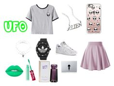"""Alien"" by fashionisminej ❤ liked on Polyvore featuring Chicnova Fashion, Disturbia, Casetify, adidas, Vinyl Revolution, Thierry Mugler, Lime Crime and Full Tilt"