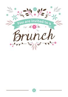 flat floral free printable brunch invitation template greetings island - Free Printable Invitation Templates