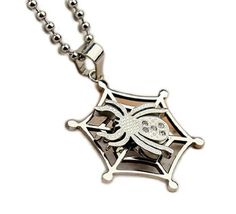Cool2day Fashion Punk Cool Spider Heavy Stainless Steel With CZ Diamond Cross Pendant Necklace (Silver) X010103