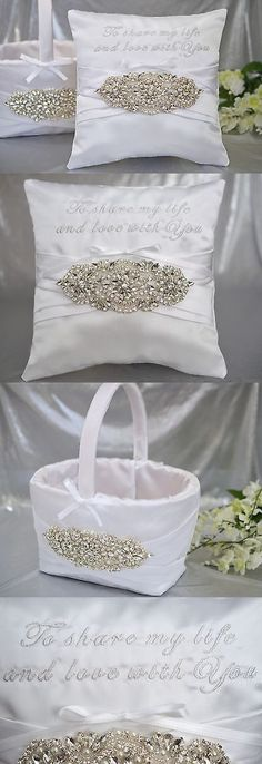 Ring Pillows and Flower Baskets 177762: To Share My Life And Love Bling Crystal Jewel Satin Ring Pillow Flower Basket Set -> BUY IT NOW ONLY: $65 on eBay!