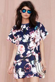 robe floral à manches longues -bleu