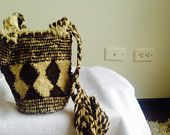 Authentic Colombian Mochila in Black Cafe by IdentidadArtesanal