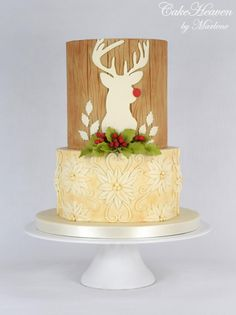 Rudolph's Christmas Cake by CakeHeaven by Marlene Christmas Cake Designs, Christmas Cake Decorations, Holiday Cakes, Xmas Cakes, Mint Wedding Cake, Wedding Cake Toppers, Wedding Cakes, Chrismas Cake, Reindeer Cakes