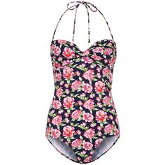 Kelly Brook Navy Pink Rose Print Swimsuit ($18) ❤ liked on Polyvore featuring swimwear, one-piece swimsuits, swimsuits, bathing suits, bikini, bandeau bikini, halter swimsuit, pink swimsuit, bikini swimsuit and bandeau one piece swimsuit